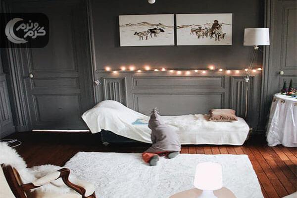 دکوراسیون اتاق خواب با نورپردازی حرفه ای ۳
